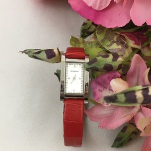 Vintage Fossil Red Leather Strap Watch